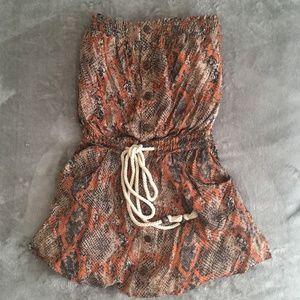 Strapless Printed Flowy Dress